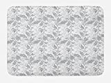 Lunarable Grey Bath Mat, Fancy Swirling Branch and Leave Patterns in Antique Style and Modern Design Print, Plush Bathroom Decor Mat with Non Slip Backing, 29.5 W X 17.5 W Inches, Gray White