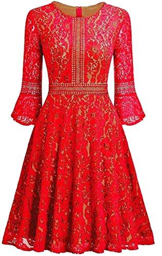 Jaycargogo Femmes Simples Dentelle À Manches Longues Robes Vintage Taille Smockée Rouge