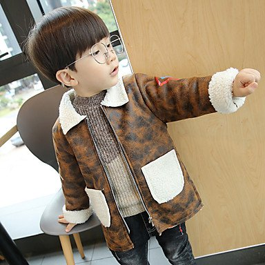 Yellow 100 Wuyulunbi@ Boy down jacket Boys' Camouflage Blouse,Polyester Fall Winter Long Sleeve Long