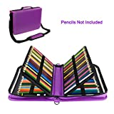 WeiBonD 160 Slots Pencil Case, PU Leather, Large Capacity with Zipper Pen/Pencil Bag for Prismacolor Watercolor, Crayola Colored Pencils and Cosmetic Brushes (Purple)