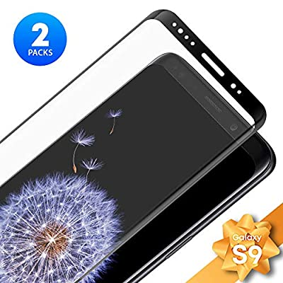 QEONIX Galaxy S9 Screen Protector - Real HD Full Frame Tempered Glass, 3D Touch, 9H Hardness, Case Friendly [2-Pack]