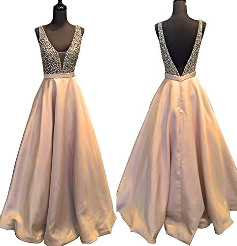 YuNuo Gorgeous V Neck Beaded Crystal Brown Long Prom Dresses 2018 Custom Made Sexy Floor Length Evening Dress Long Formal Party Gowns S5Dustypink-US8 (Floor Sexy)