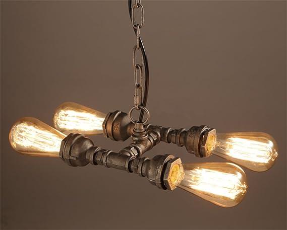 4-light Pendant chandelier, Water pipe Hanging lighting fixtures ...