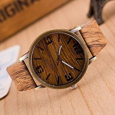 XKC-watches Relojes para Hombres, Pack de 3 Relojes de imitación de Madera de Cuatro dígitos para Hombres y Mujeres (Colour : 01)