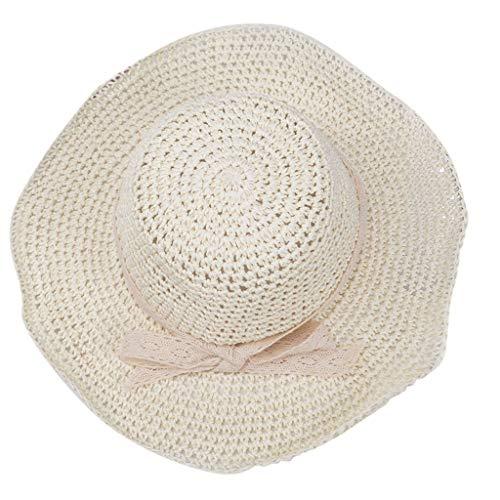 - Jianekolaa Womens Foldable Wide Brim Roll-up Crocheted Straw Hat Beach Sun Visor Cap UPF 50+