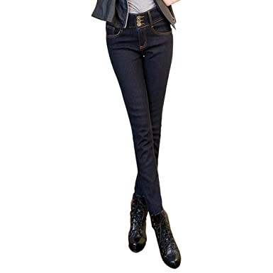 78c02137459 Women High Waisted Stretch Skinny Fit Autumn Winter Cotton Denim Jeans  Jeggings Pants Size 8 10
