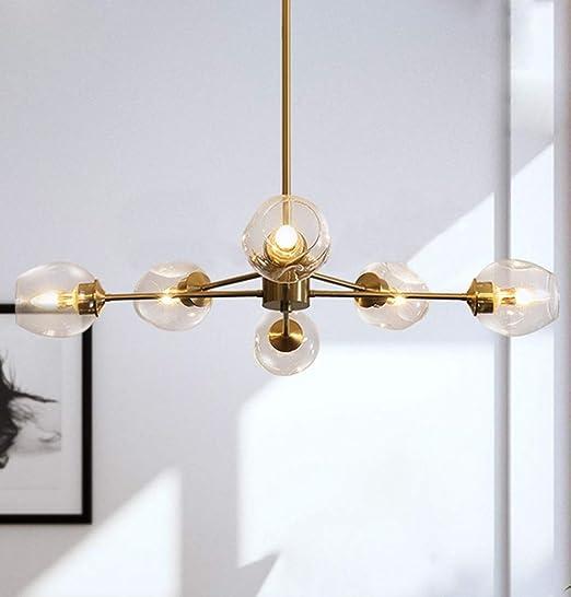 Modern Sputnik Chandelier 6 Lights Golden Brushed Brass Ceiling Light Semi Flush Mount Pendant Lighting Fixture