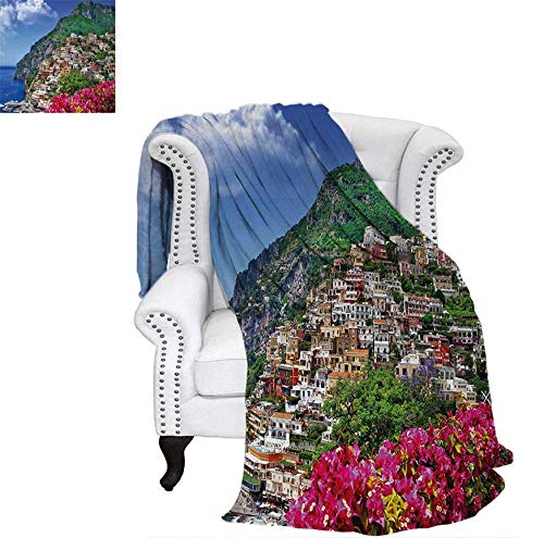 Digital Printing Blanket Scenic View of Positano Amalfi Naples Blooming Flowers Coastal Village Image Summer Quilt Comforter 60