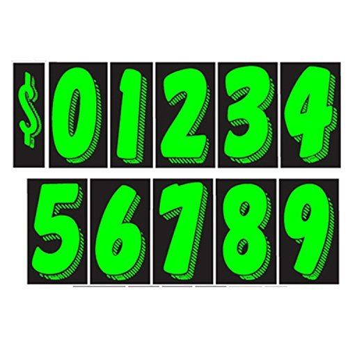 7 1//2 inch, Chartreuse 7 1//2 Vinyl Number Decals 11 Dozen Car Lot Windshield Pricing Stickers Windshield Numbers 11-dozen-numbers
