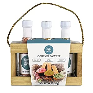 Gourmet Salt Sampler - Set of 3 | Himalayan Pink Crystal Salt, Rosemary Sea Salt, & Curry Sea Salt (4.2 oz each)
