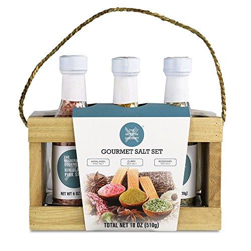 Gourmet Salt Sampler - Set of 3   Himalayan Pink Crystal Salt, Rosemary Sea Salt, & Curry Sea Salt (4.2 oz each)