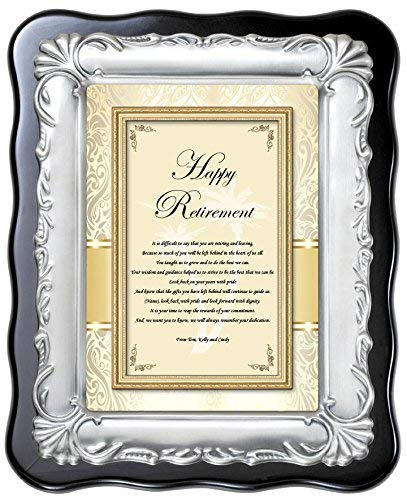 Personalized Retirement Gift Service Award Congratulation Employee Coworker Boss Present Recognition Desk Poetry Plaque Brush