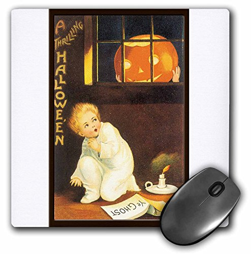 3dRose BLN Vintage Halloween - Vintage A Thrilling Halloween with a Scared Child looking out the Window at a Pumpkin - MousePad -
