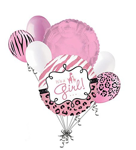 7 pc It's a Girl Sweet Safari Baby Shower Welcome Home Balloon Bouquet Giraffe]()