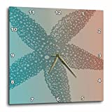 3dRose dpp_123676_2 Peach Aqua Starfish Marine Life Beach Theme Wall Clock, 13 by 13″ For Sale