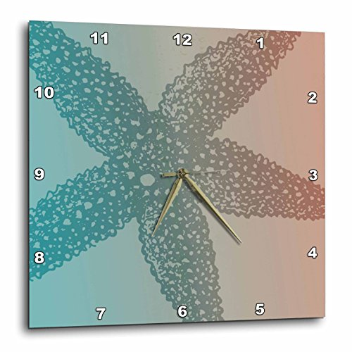 3dRose dpp_123676_2 Peach Aqua Starfish Marine Life Beach Theme Wall Clock, 13 by 13