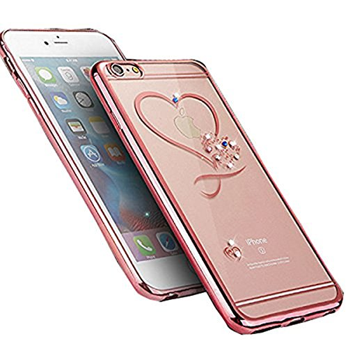 Inspirationc Glitter Bling Crystal Rhinestone Diamonds Clear Rubber Electroplate Plating Frame TPU Soft Silicone Bumper Case Cover for Apple iPhone 7 Plus 5.5 Inch--Rose Gold and Heart -