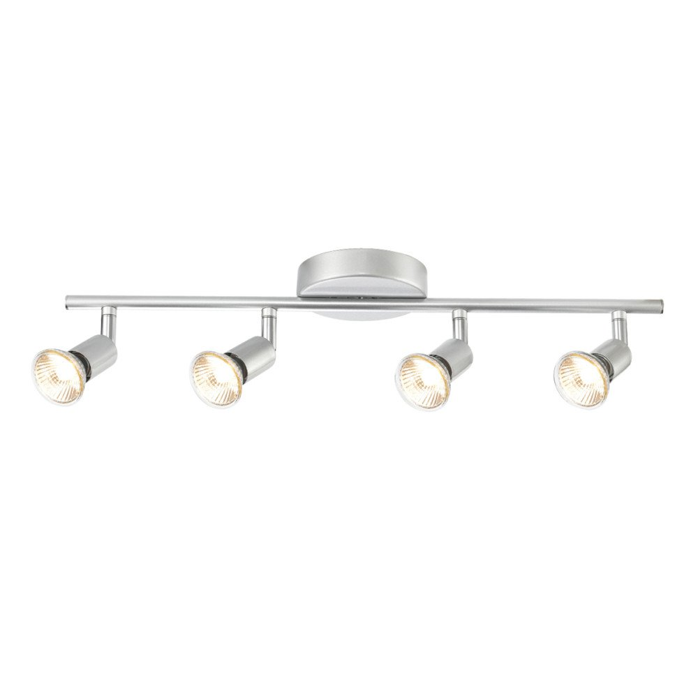 Globe Electric 4 Light Track Kit Bar Brushed Silver Finish Wiring Lighting Switch Gu10 Bulb Base Code 58932