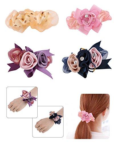 Fancy Clouds Flower Hair Scrunchie Elastic Hair Tie Rope Ponytail Holder For Women Girl Hair Accessories Pack of (Fancy Elastic)