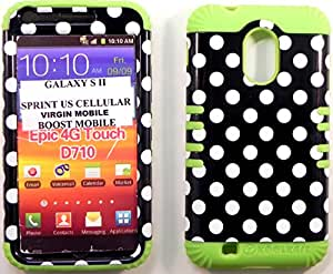 Heavy duty Hybrid Cover White Polka On Black Design Plastic Snap On Over Lime Green Silicone with Zebra Earpiece For SAMSUNG S2 Galaxy EPIC 4G TOUCH D710 R760 for SPRINT/BOOST MOBILE/VIRGIN MOBILE/US CELLULAR