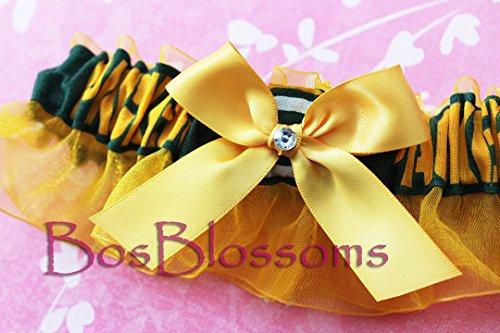 Customizable – Green Bay Packers green print fabric handmade into bridal prom gold organza wedding keepsake garter with big golden bow