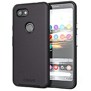 Crave Pixel 3a Case, Dual Guard Protection Series Case for Google Pixel 3a – Black