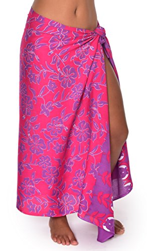 Hana Hibiscus Hawaii Sarong Pareo BeachWrap Swimsuit Coverup Fuchsia / Purple