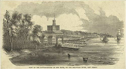 Battleground Jersey - Historic Pictoric ca. 1750 Print | View of the Battle-ground at Red Bank, on the Delaware River, New Jersey | Vintage Wall Art | 44in x 30in