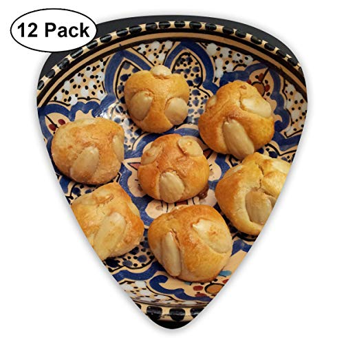 Cute Christmas Baking Almond Cookies On A Plate Small Medium Large 0.46 0.73 0.96mm Mini Flex Assortment Plastic Top Classic Rock Electric Acoustic Guitar Pick Accessories Variety Pack