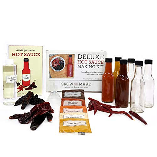 Grow and Make Deluxe DIY Hot Sauce Making Kit – Learn How to Make 6 Spicy Sauces at Home with Chipotle, Arbol, and…