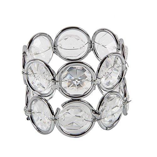 HSTYAIG Crystal Beaded Napkin Rings Silver Colour Napkin Holder Wedding Decoration Home Decor 6pcs Set by HSTYAIG