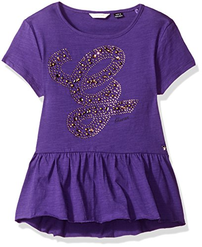 GUESS Big Girls' Knit Jersey Studded Logo Peplum Top, Vine Violet, (Big Vine)