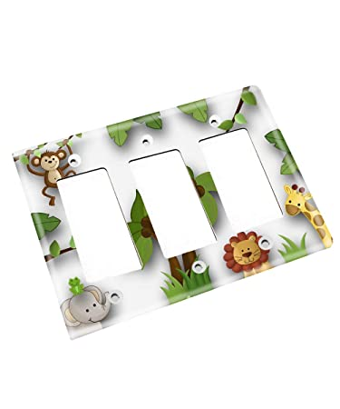 Double Decora Jungle Animals Gender Neutral Nursery Bedroom Light Switch Cover LS0027