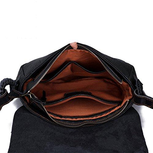 CNFIP Sacs à Main Messenger Bag Sac à Bandoulière Première Couche De Cuir Fait à La Main 31 × 22 × 8cm