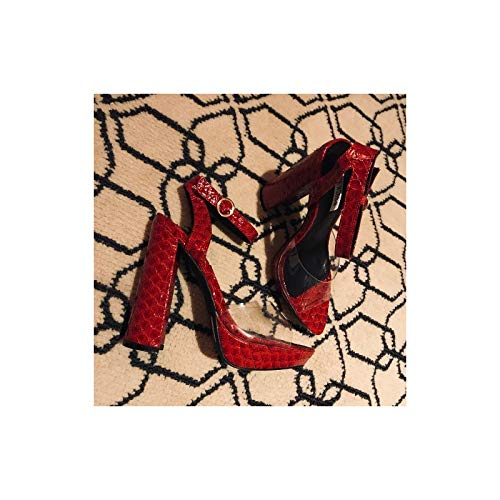 CAPE ROBBIN Lovely Clear Open Pointy Toe Embossed Chunky Platform Heel (9, Red)