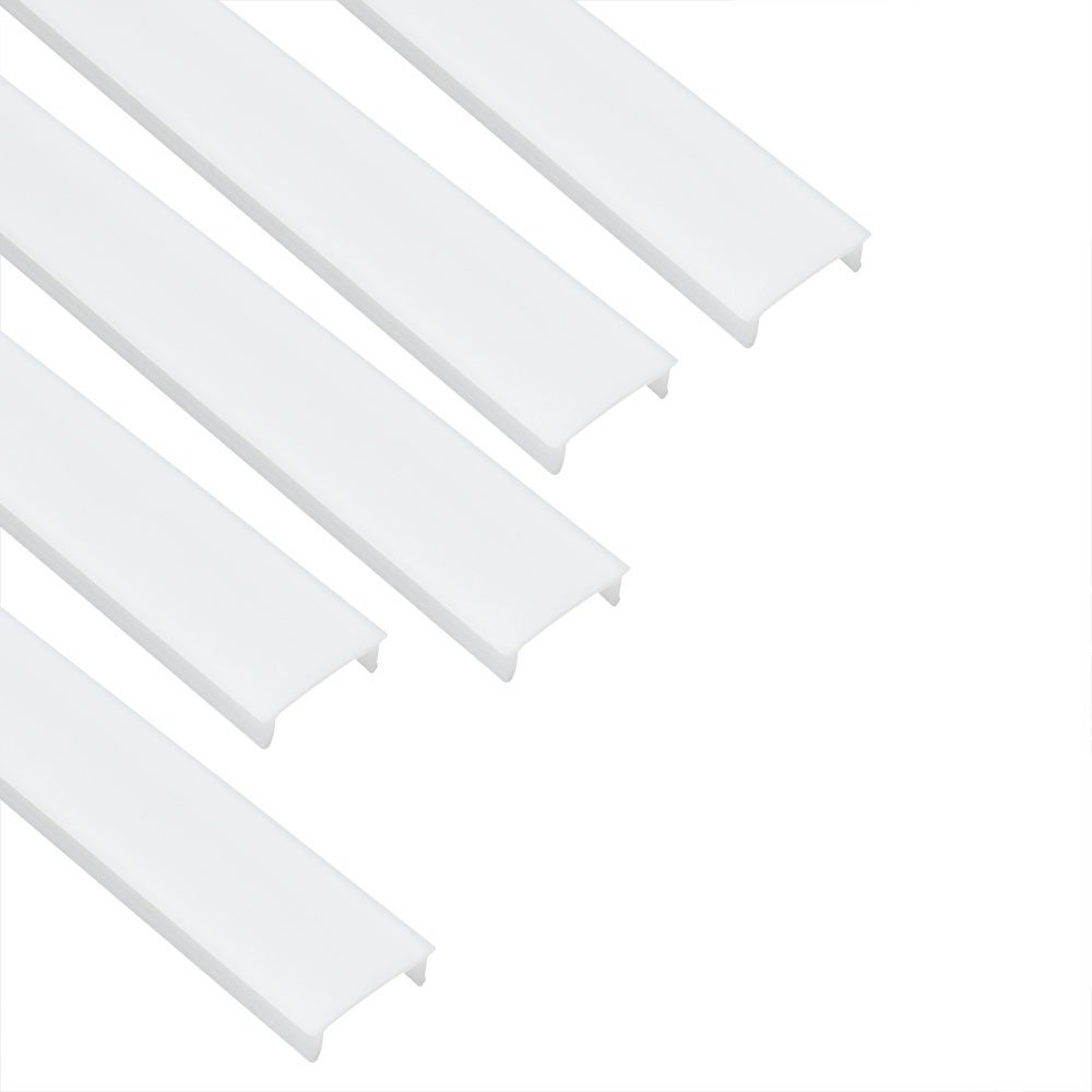 LightingWill LED Aluminum Channel Milk White Cover for U01 U02 V03 Style 1M/3.3ft 5 Pack