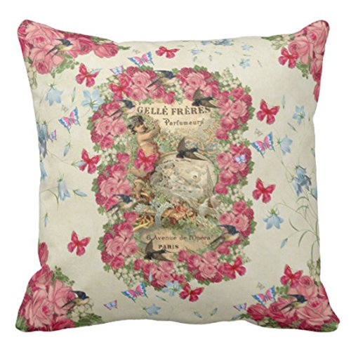 Emvency Throw Pillow Cover Vintage Romantic Pink Roses Paris Collage Decorative Pillow Case Floral Home Decor Square 16 x 16 Inch Cushion Pillowcase Collage Pillow