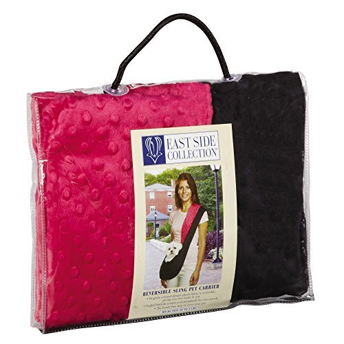 East Side Collection Reversible Sling Pet Carriers - Brightly Colored Polyester Over-the-Shoulder Carriers for Small Dogs, Black and Pink by East Side Collection (East Collection Side Carrier Pet)