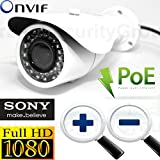 USG IP PoE Network Bullet Security Camera Motorized Zoom 2.8-12mm Lens + Auto-Focus 2MP 1080P @ 30FPS ONVIF, WDR, Motion Detection, BLC, AWB Remote Phone Viewing