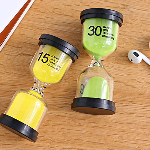 Gosear Hourglasses, Sand Timer 6pcs Hourglass Sand Clock Timer Sandglass 1 3 5 10 15 30mins for Classroom Game Home Office Decoration Random Colors. by Gosear (Image #3)