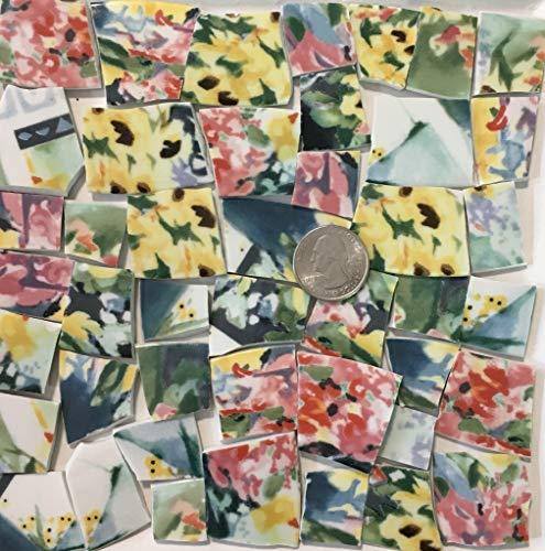 Mosaic Art & Crafts Supply ~ Yellow Pink & Blue Fine China Tiles (B701)
