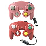 Crifeir 2 Pack Wired Controller for Gamecube NGC Wii Video Game (Pink and Red)