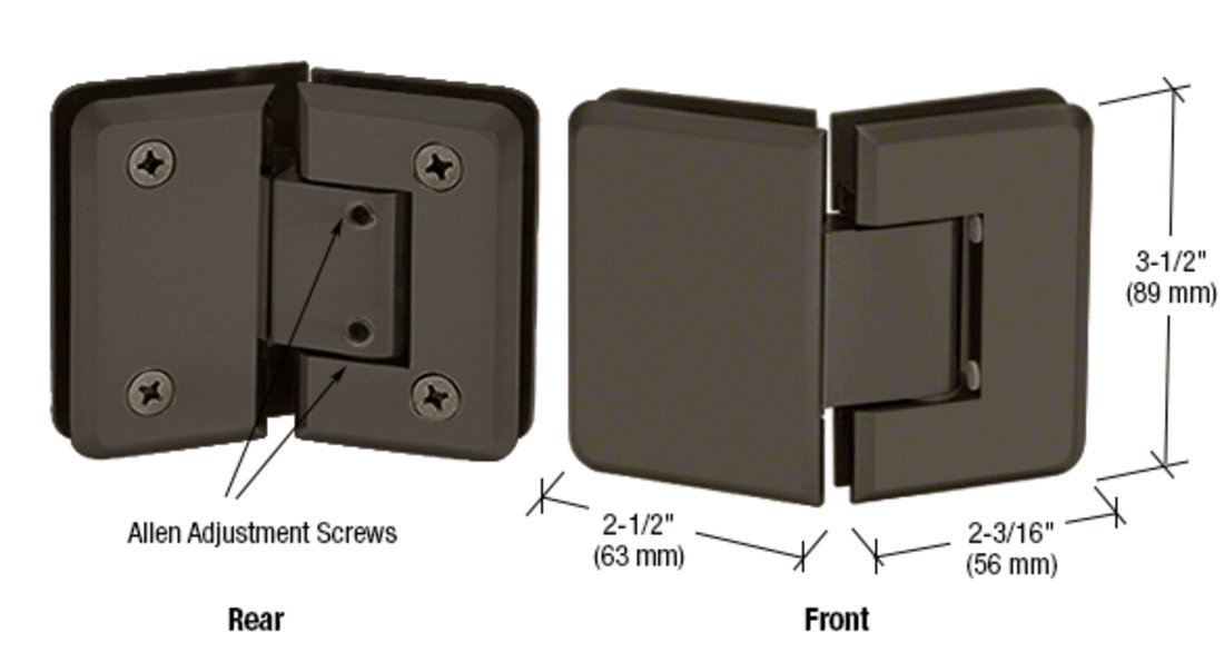 CRL Pinnacle 345 Series Oil Rubbed Bronze Adjustable 135° Glass-to-Glass Hinge