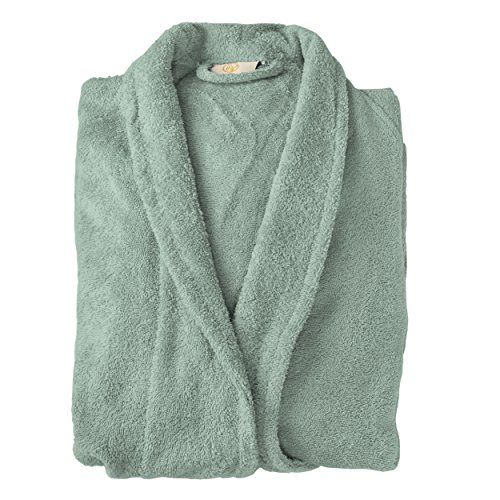 Superior Long-Staple Cotton Unisex Terry Bath Robe, Small, Sage