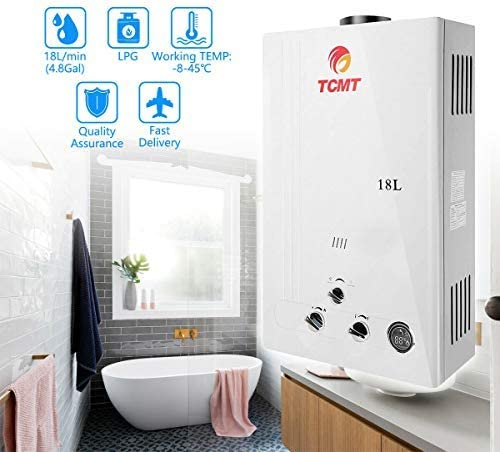 Tengchang 18L LPG Propane Gas Hot Water Heater Tankless Instant Boiler Digital Display with Shower