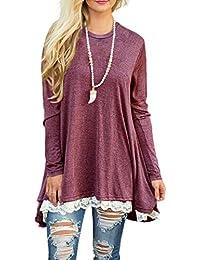 Women Lace Long Sleeve Tunic Top Blouse