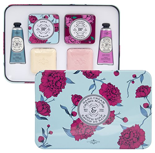 La Chatelaine Shea & Cherry Almond Essentials Set, Luxury Gift Set, 2 Triple Milled French Soaps, 2 x 3.5 oz (100g), 2 20% Shea Butter Hand Lotions 2 x 1 fl oz, 2 Elegant Soap Travel Tins
