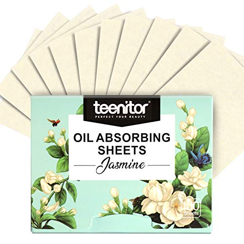 Oil-absorbing Blotting Papers, Teenitor 100pcs Jasmine Oil blotter Sheets, Oil Control Film for Oily Skin Care, 10cmx7cm