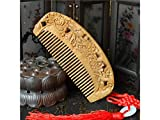 Fashionable Design Carved Natural Green Sandalwood Comb Double-sided Carved FineTooth Comb Massage Hairdressing Gift Comb
