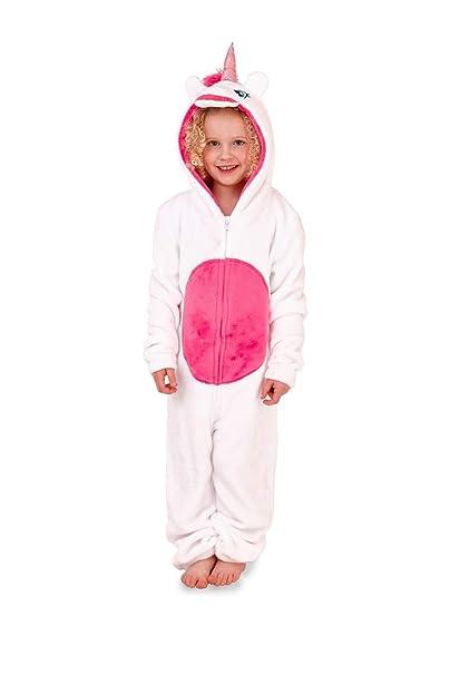 Nifty Kids - Pijama de una Pieza - Manga Larga - para niña White Unicorn